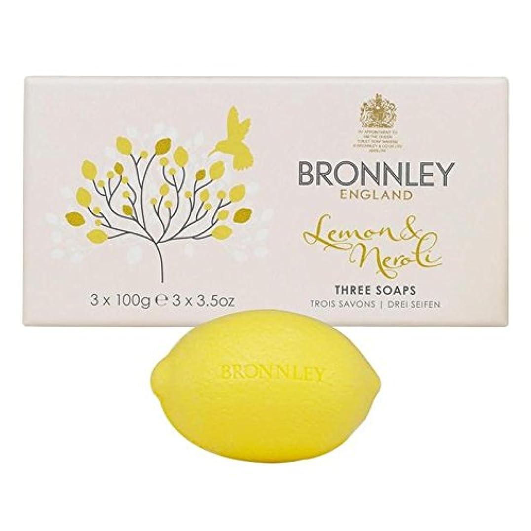 封筒ナラーバー発生Bronnley Lemon & Neroli Soaps 3 x 100g (Pack of 6) - レモン&ネロリ石鹸3×100グラム x6 [並行輸入品]