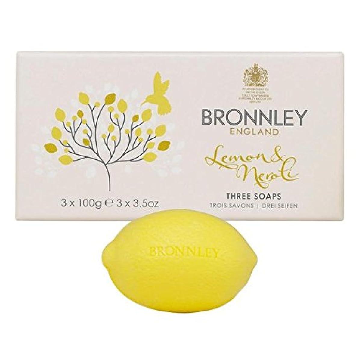 グラスアカデミー失われたBronnley Lemon & Neroli Soaps 3 x 100g - レモン&ネロリ石鹸3×100グラム [並行輸入品]