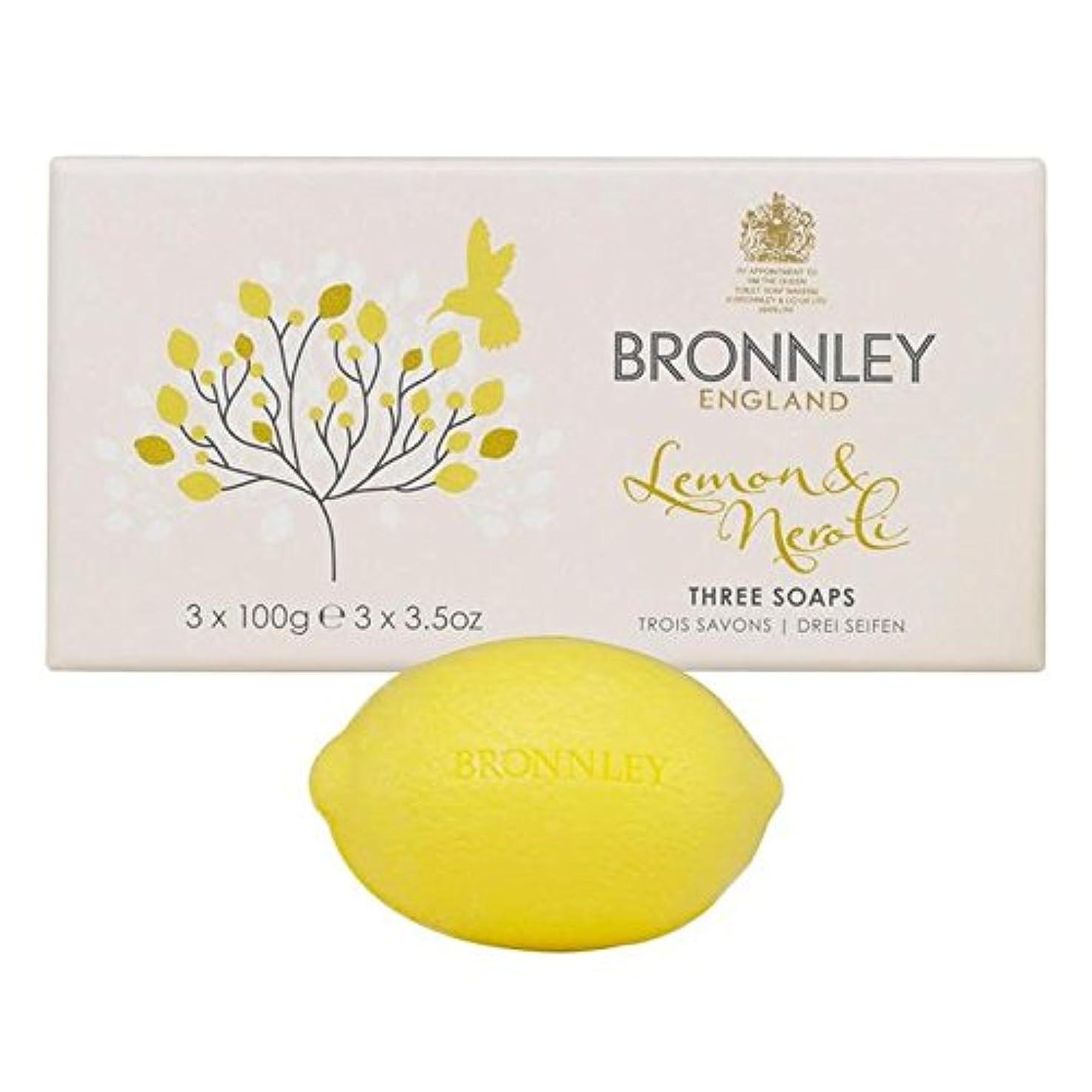 ダーリン埋め込む経済Bronnley Lemon & Neroli Soaps 3 x 100g - レモン&ネロリ石鹸3×100グラム [並行輸入品]