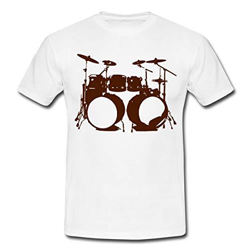 Schlagzeug, Drums, Drummer, Schlagzeuger, Musik, Instrument, Double bass Männer T-Shirt, S, Weiß
