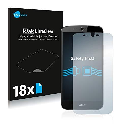Savvies 18x Schutzfolie kompatibel mit Acer Liquid Zest Plus Bildschirmschutz-Folie Ultra-transparent