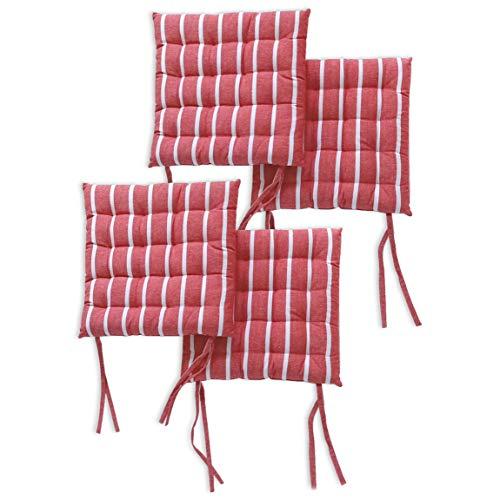 Encasa Homes 4 pcs Almohadillas para sillas 40x40 cm con ataduras - Roma Rayas Rojas - Tela de algodón, Cojines de Asiento Cuadrados con Relleno de Fibra Grueso, tamaño Grande