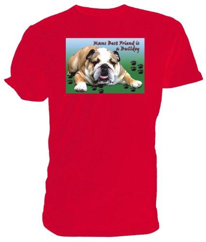 T-Shirt mit britischer Bulldogge, Rot - rot - Größe: Medium