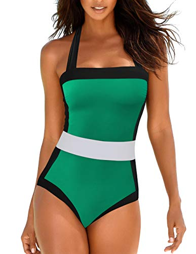 Upopby Women's Halter Slimming One Piece Swimsuits Tummy Control Colourblock Swimwear Plus Size Bathing Suits Green 6