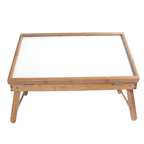 Azadx Bamboo Breakfast Tray, Top Adjustable Laptop Tray, Multipurpose Serving Trays with Holding Legs for Dining, Reading or Working (White)