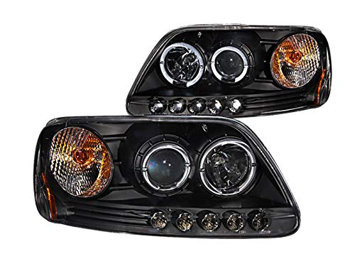 Anzo USA 111031 Ford Projector Halo LED Black Headlight Assembly, 1Pc - (Sold in Pairs)