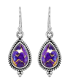 YoTreasure Purple Copper Turquoise Solid 925 Sterling Silver Dangle Earrings