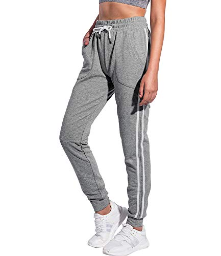 PULI Women's Jogger Pants with Pockets Soccer Training Track Sweatpants Workout Dark Grey Medium