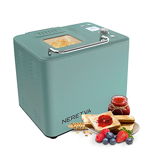 Neretva Bread Machine, 20-in-1 Stainless Steel Bread Maker with Nonstick Bread Pan, 2LB Breadmaker, Gluten-Free Setting, Large LED Display, 15H Reserve & 1H Keep Warm, 3 Crust Colors and 2 Loaf Sizes