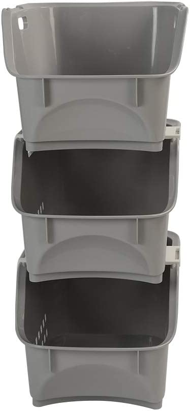 Utiao 3 Packs Stackable Storage Beauty products Plastic Grey Bin Minneapolis Mall Org