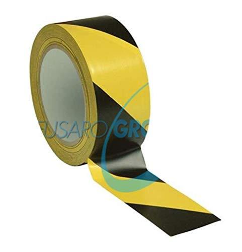 ROTOLO NASTRO ADESIVO SEGNALETICO in PVC 50 mm X 124 mt GIALLO NERO PER DISTANZA SICUREZZA