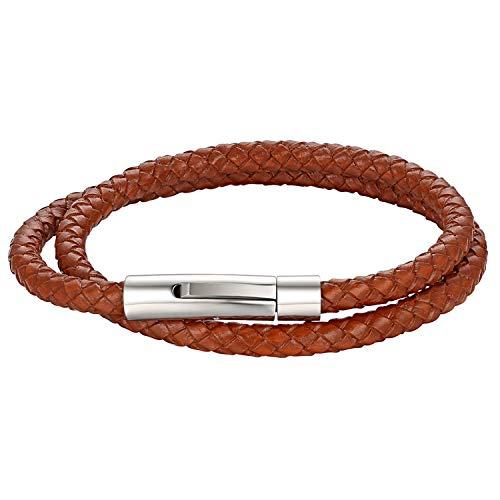 Cupimatch Herren Lederarmband, Leder Kordelkette Geflochten Armband Wickelarmbänder mit Edelstahl Magnetverschluss - zum zweimaligen Umwickeln, Hellbraun