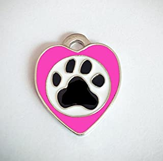 Polykor Useful Heart-Shaped Footprints Dog Tag Pet Pendant Color Paint Tag(Rose Red)