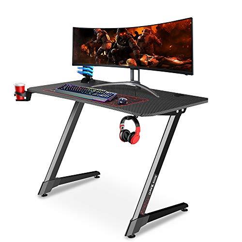 Dripex Mesa Gaming con Tablero de Fibra de Carbono, Gaming Desk 110 x 75 x 60 cm con Soporte para Tazas y Auriculares, Patas Regulables, Negro