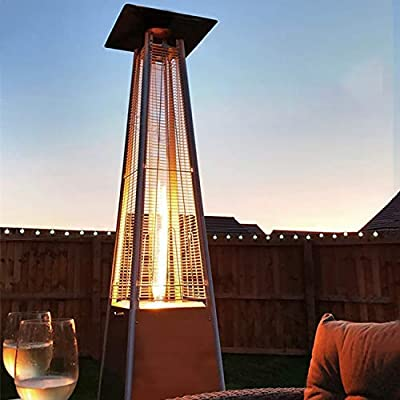 Pyramid Outdoor Patio Heater - 45000 BTU Stainless Steel Propane Heater with Cover Glass Tube