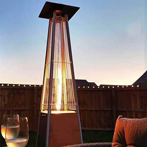 WASAKKY Pyramid Outdoor Space Portable Patio Heater - 45000 BTU Propane Heater with Wheels,Cover Included Glass Tube for Party(ALL-Stainless Steel)