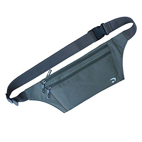 NAOKI LOVE Ocultar ultrafino de cintura Pack bolsa bolso deportes al aire libre Correr Viaje Runner cinturón con tarjeta de Crédito ranuras de pantalla, Army Green