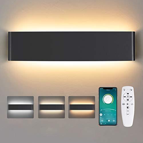 Wandleuchte Innen LED, 28W Dimmbare Moderne Smart Wandleuchte mit Fernbedienung Kaltes Weiß/Warmes Licht/Neutrales Licht 40CM Innen Wandbeleuchtung für Wohnzimmer Schlafzimmer Flur 2700K-6500K