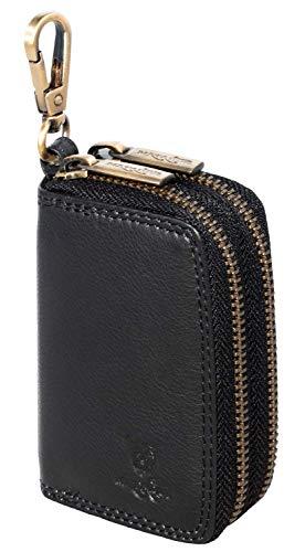 MATADOR® Hochwertige Echt Leder Schlüsselanhänger-Tasche Auto-Schlüsseltasche Autoschlüssel-Etui Schlüsseletui Schlüsselmäppchen mit Doppelt YKK Metall Reißverschluss und Karabiner (Schwarz)