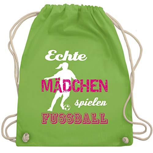 Shirtracer Fußball - Echte Mädchen spielen Fußball weiß - Unisize - Hellgrün - echte mädchen spielen fußball - WM110 - Turnbeutel und Stoffbeutel aus Baumwolle