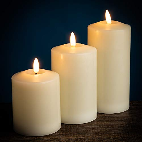 Dawsons Living Flameless LED Candles - Light Up Wax Church Candles with...