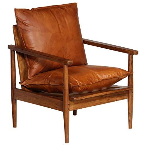 Festnight Sessel | Vintage Loungesessel | Retro Cocktailsessel | Armsessel | Wohnzimmersessel | Braun Echtes Leder mit Akazienholz 66 x 69 x 74 cm