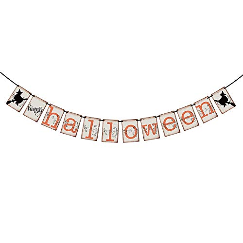 Vintage Happy Halloween Banner - Halloween Indoor Outdoor Decorations for Home Office Fireplace Mantle Party Decorations Supplies