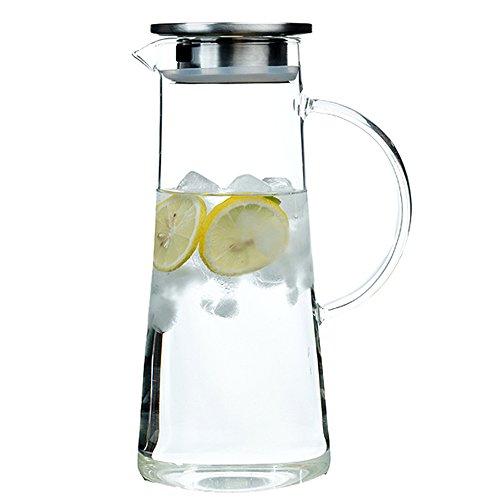 [EVIICC]ガラスポット 1.5リットル 耐熱 直火可 冷蔵庫 水出し 茶ポット ガラスピッチャー ステンレス茶こし付きジャグ