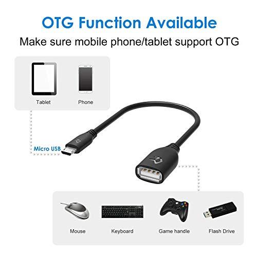Rankie Adattatore OTG, Cavo Micro USB Maschio a USB 2.0 Femmina per Smartphone, Telefono Cellulare e Tablet, 3 Pezzi, Nero