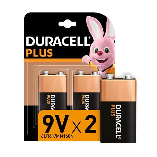 Duracell - NUOVO Plus 9V, Batterie Alcaline, confezione da 2, 6LR61 MX1604, Ottima per Rilevatore di Fumo
