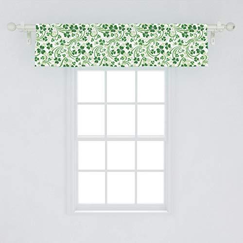 Lunarable Shamrock Window Valance, Lucky Celtic Clovers Swirls Monochrome Irish Design St Patrick's Day, Curtain Valance for Kitchen Bedroom Decor with Rod Pocket, 54' X 12', Emerald Green