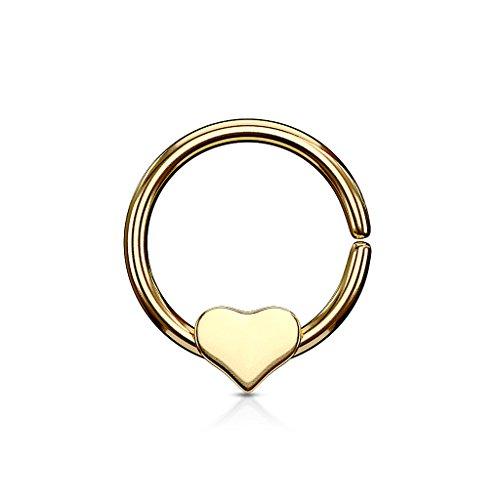 Gekko Body Jewellery Gold Plated Bendable Cut Ring Piercing Hoop met Verwijderbaar Hart