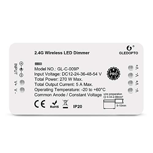 GLEDOPTO LED ZigBee Dimmer Controller Steuergerät LED Stripe wie einfarbig in warmweiß weiß oder kaltweiß für 12V oder 24V getestet mir Philips Hue*, Alexa Echo Plus, Homee (Dimmer Pro Serie)
