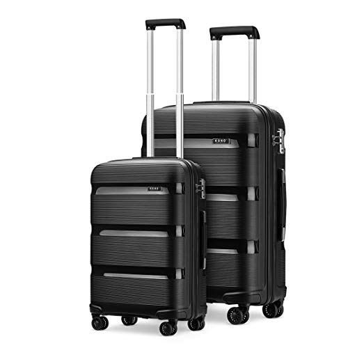 Kono Set of 2 Luggage Bags Hard Shell PP Carry on 20'' Cabin Trolley Case +Large Lightweight Travel 28'' Check in Suitcases with 4 Wheels (Black)