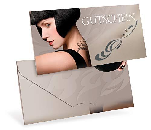 Gutscheinkarten (10 Stück) - Geschenkgutscheine für Tattoo, Piercing, Kunst - DIN lang Faltkarte verschließbar