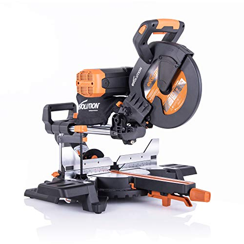Evolution Power Tools R255SMSDB+ 15 Amp 10 in. Premium Dual Bevel Sliding Miter Saw w/Laser and Multi-Material Cutting Blade