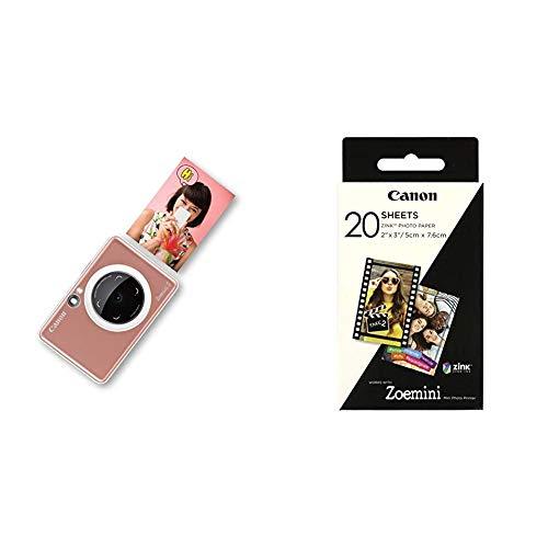 Canon Zoemini S, Cámara, Bluetooth, Tamaño Único, Rosa Oro + Zoemini ZinkHojas de Papel Fotográfico (20 Hojas, Compatible con Zoemini), Blanco