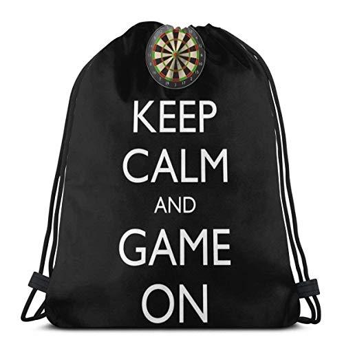 Halten Sie Ruhe und Spiel auf Dartscheibe Kordelzug Sport n Tasche Reisetasche Geschenktüte