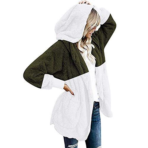 yanghuakeshangmaoyouxiangong Womens Hooded Cardigans Mäntel Langarm Casual Übergroße Kunstpelz Fuzzy Open Front Hoodies Oberbekleidung Mit Leopardentaschen