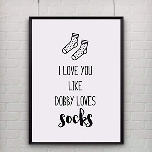 Danjiao Abstrakte Hauptdekoration Leinwand Malerei Ich Liebe Dich Wie Dobby Liebt Socken Zitat Kunst Poster Und Drucke Wandkunst Bild Für Kind Wohnzimmer 60x90cm
