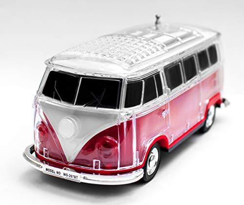 JeVx Altavoz Bluetooth Furgoneta Volkswagen T1 T2 - con Bateria Recargable Luz Led USB para Pendrive Lector de Tarjetas Micro SD Radio FM Portatil Reproductor de Musica Mp3 Maqueta de VW Van Rojo