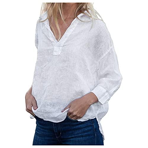 URIBAKY - Camisa de lino para mujer de manga larga y cuello...