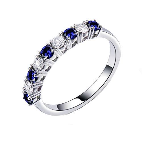 AnazoZ Anillo Zafiro Mujer,Anillo Oro Blanco 18 Kilates Mujer Plata Azul Redondo Zafiro Azul 0.36ct Diamante 0.26ct Talla 20