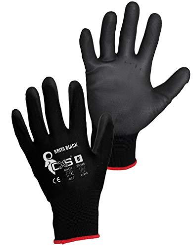 CXS 3440-001-800-09 Brita - Guantes de trabajo, color negro, Pack de 12