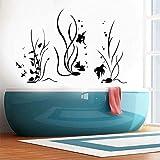 YMSHD Pegatinas de Pared decoración del hogar para baño Vinilo decoración náutica calcomanía Moderna Acuario Peces mar océano Estilo Marino 85X57Cm