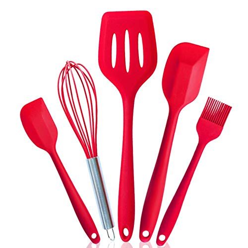 Silicone Baking Utensil Set Heat Resistant BPA-Free, ZECNG Kitchen Tools with Silicone Whisk/Brush/Large Spatulas/Small Spatulas/Slotted Turner for nonstick cookware, Set of 5 (Red)