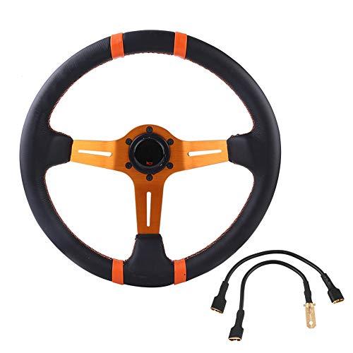 EBTOOLS 350mm Marco de volante de cuero 6 Bolt Car Racing 14in Rueda de aluminio universal(naranja)