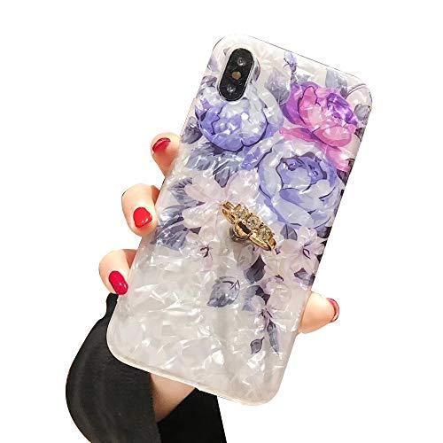 WYCcaseA Funda Compatible para iPhone 12/12 Mini/12 Pro MAX Carcasa con Anillo Giratorio De 360 Grados Concha Patrón Anti Rasguños Anti Arañazos,Azul,7/8