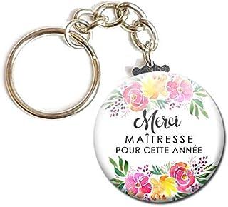 Porte Clés Chaînette 3,8 centimètres Merci Maîtresse pour cette année Idée Cadeau Accessoire École Année Scolaire Enfant M...