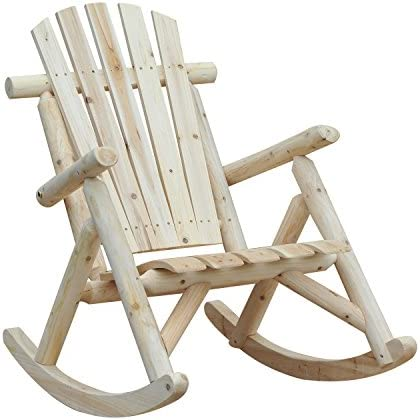 Best Outsunny Outdoor Adirondack Rocking Chair, Fir Wood Log Slatted Design Patio Rocker for Porch Garden